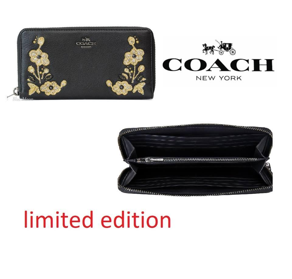Coach ACCORDION ZIP WALLET IN REFINED NATURAL PEBBLE LEATHER WITH FLORAL  EMBROIDERY F11885 black authentic new 1d805f0e7fa1