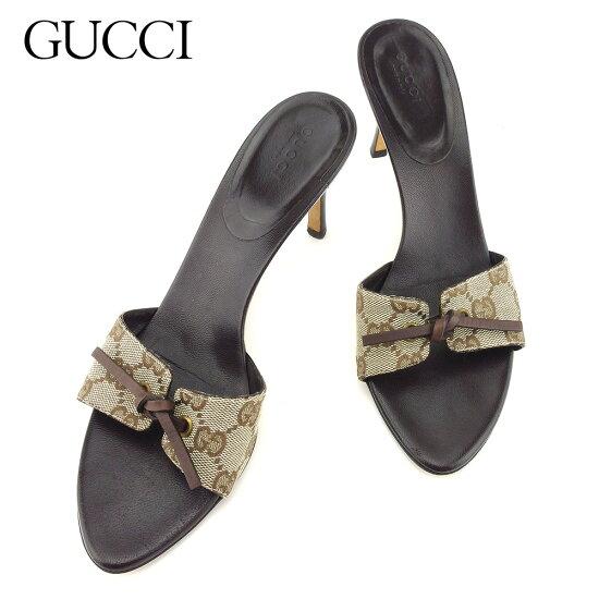 19aecf8c6b6  中古  古馳Gucci涼鞋鞋鞋女士GG花紋棕色淺駝色帆布×