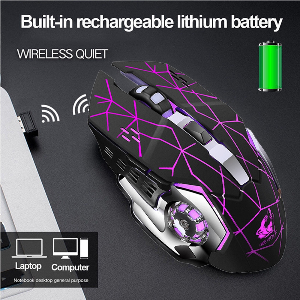 Wireless 2.4Ghz 2400 DPI Optical Mute Gaming Mouse Rechargeable Mice LED Backlit