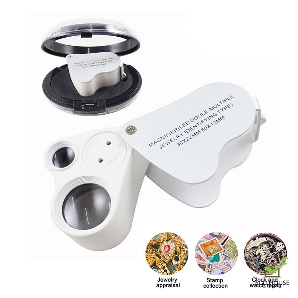 Coins Jewelry Stamps Jewelers Loupe,30X 60X Illuminated Jewelers Eye Loupe Magnifier Pocket Foldable Jewelry Magnifier with LED Lighting for Gems