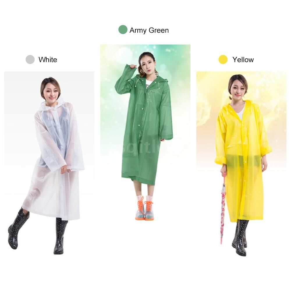 Hiking Adult Portable Reusable Raincoat Rain Poncho With Hoods And Sleeves Waterproof Rain Coat For Camping Tourism