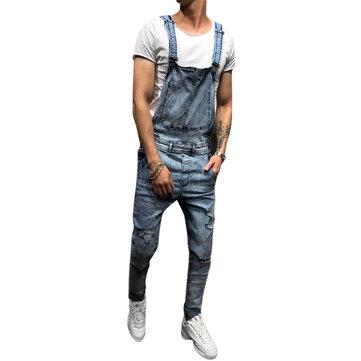 c8635b5b6d0ed Denim Overalls Suspenders Ripped Jeans for Men