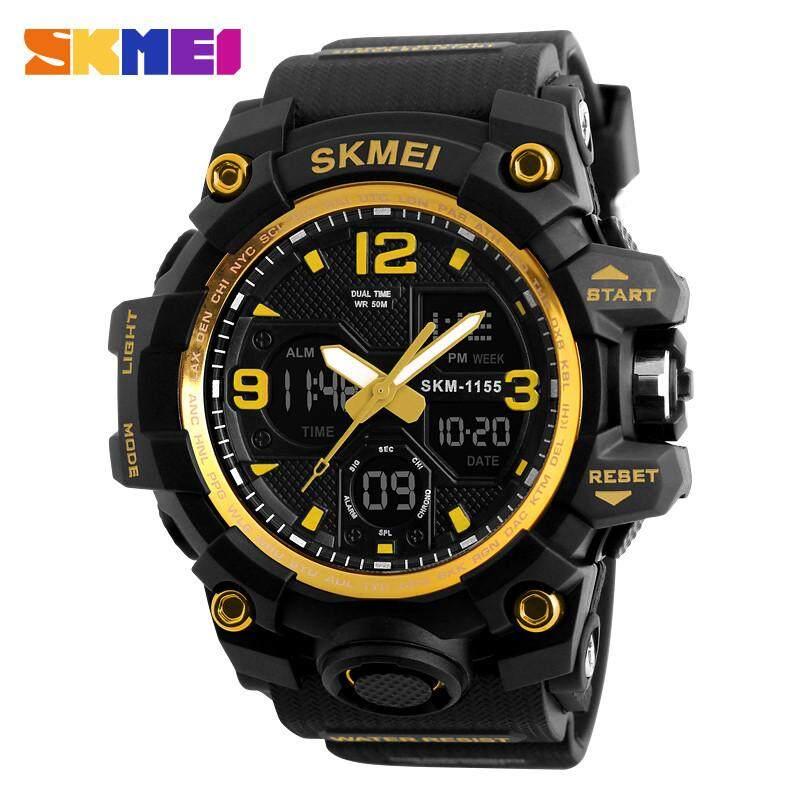 SKMEI 1155B กีฬาผู้ชายนาฬิกา Multifuction Digital Analog Dual ครั้งนาฬิกาผู้ชาย, สีดำ PU