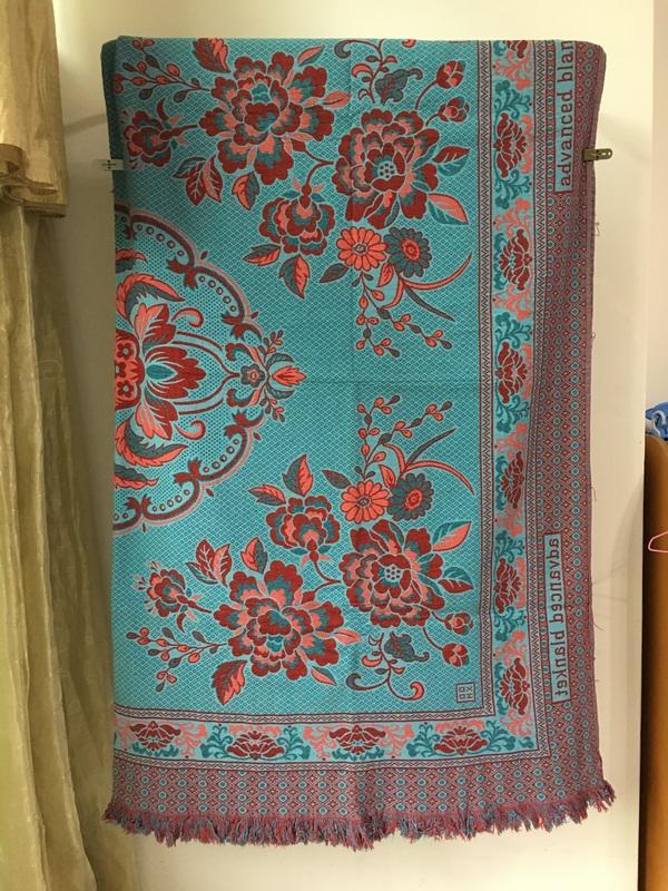【米倉】二手老物件收藏道具「民族風」藍紅花卉圖案流蘇毯子/毛毯/地毯/蓋毯/懶人毯/薄毯